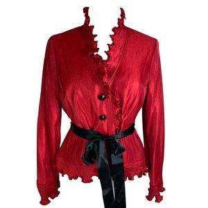 Adrianna Papell Shiny Red Top Black Sash Jacket